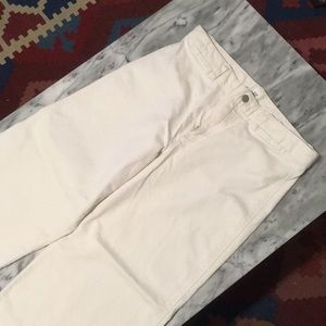 High waist wide leg cropped white pants NWOT